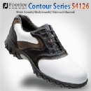 Contour Series 54126 Men's White Smooth/ Black Smooth/ Distressed Charcoal Golf Shoes