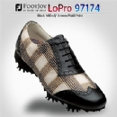 LoPro Collection 97174 Women's Black Milled/ Brown Plaid Print Golf Shoes